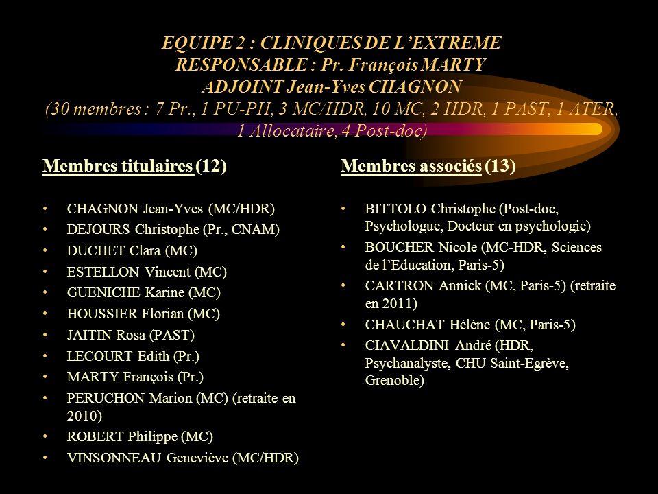 Membres associés COSLIN Pierre (Pr., Paris-5) EIGUER Alberto (Psychiatre, Psychanalyste, HDR) FELDMAN Marion (MC À LIUT, Paris-5) GIRON Céline (MC, IUFM Paris) GOVINDAMA Yolande (Pr.