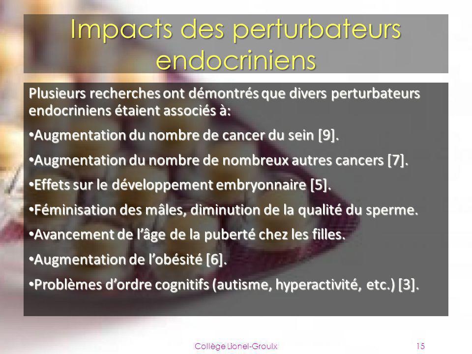 Impacts des perturbateurs endocriniens Plusieurs recherches ont démontrés que divers perturbateurs endocriniens étaient associés à: Augmentation du no