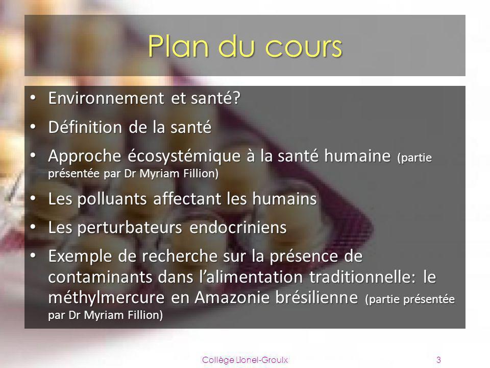 Plan du cours Environnement et santé? Environnement et santé? Définition de la santé Définition de la santé Approche écosystémique à la santé humaine