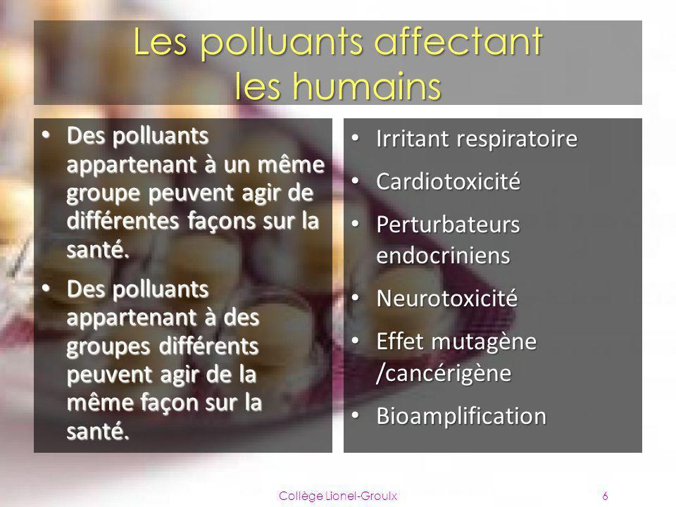 Les polluants affectant les humains Des polluants appartenant à un même groupe peuvent agir de différentes façons sur la santé. Des polluants apparten