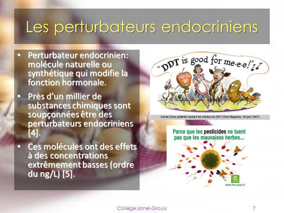 Les perturbateurs endocriniens Collège Lionel-Groulx7 Perturbateur endocrinien: molécule naturelle ou synthétique qui modifie la fonction hormonale. P