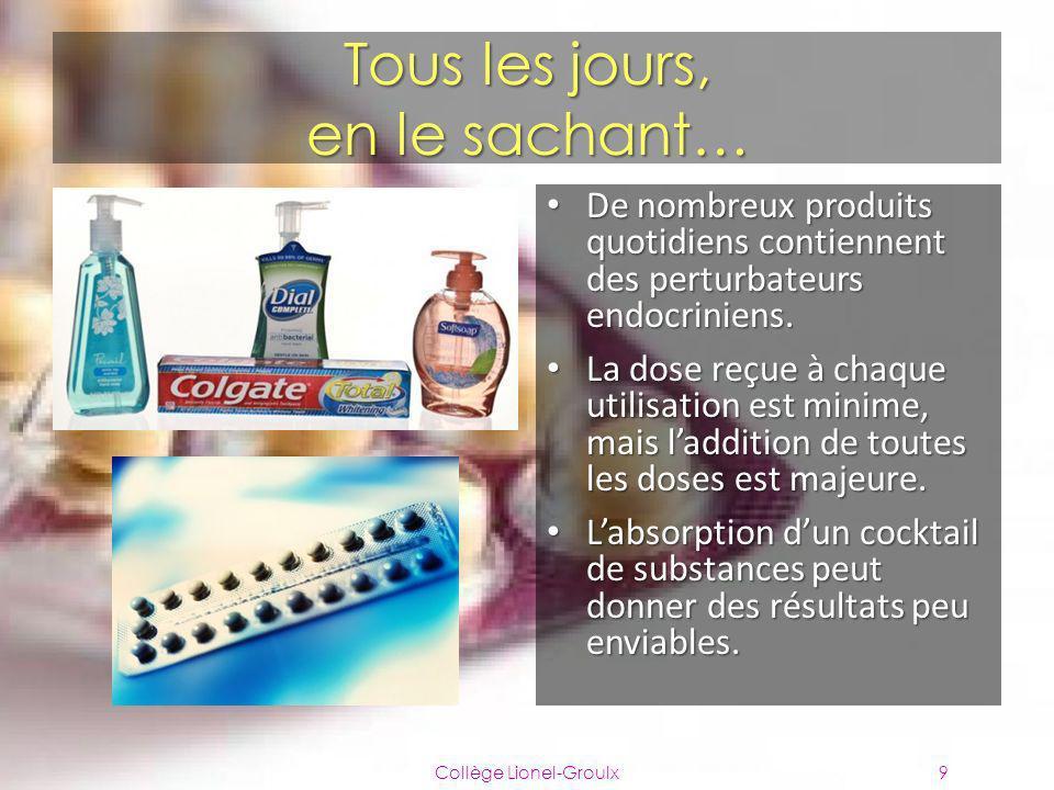 Tous les jours, en le sachant… Collège Lionel-Groulx9 De nombreux produits quotidiens contiennent des perturbateurs endocriniens. De nombreux produits
