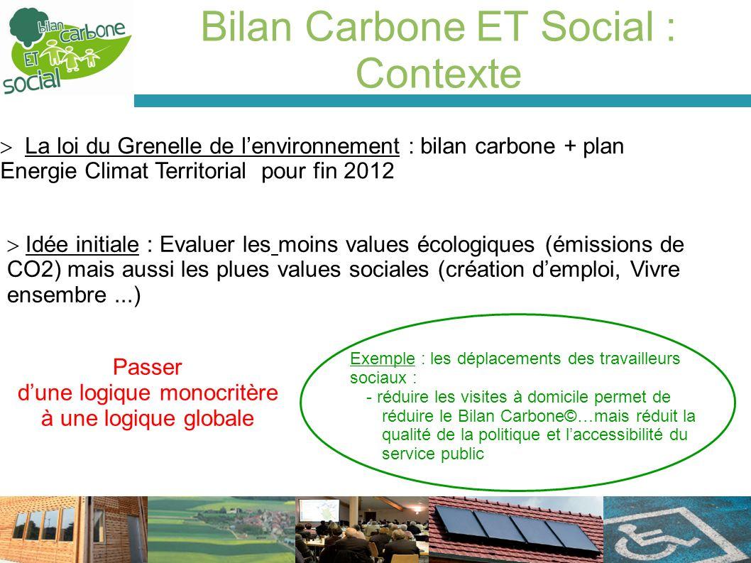Bilan Carbone ET Social : Contexte La loi du Grenelle de lenvironnement : bilan carbone + plan Energie Climat Territorial pour fin 2012 Idée initiale