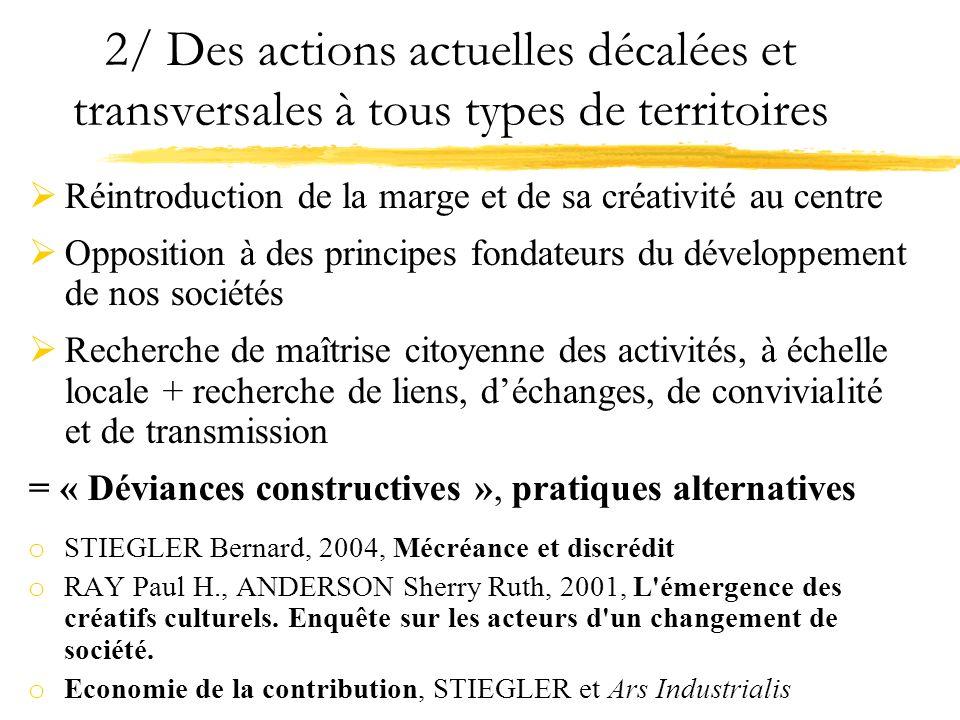 2/ Des actions actuelles décalées et transversales à tous types de territoires Réintroduction de la marge et de sa créativité au centre Opposition à d