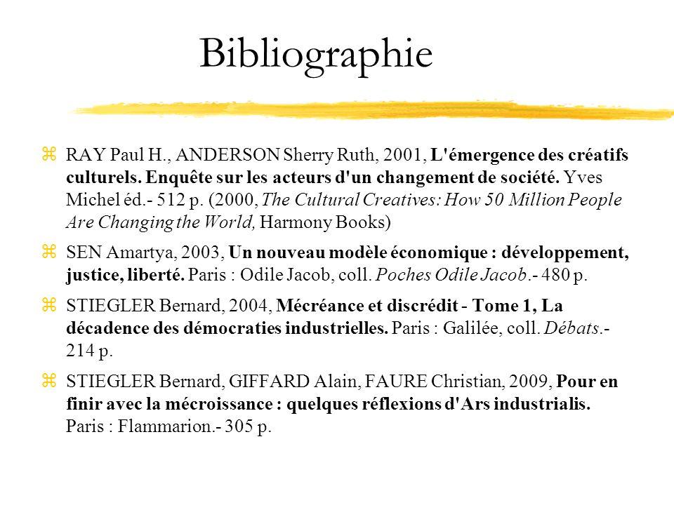 Bibliographie zRAY Paul H., ANDERSON Sherry Ruth, 2001, L émergence des créatifs culturels.