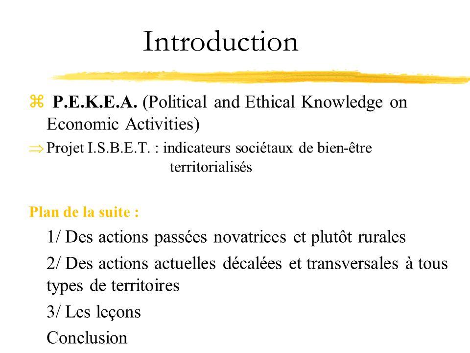 Introduction z P.E.K.E.A. (Political and Ethical Knowledge on Economic Activities) Projet I.S.B.E.T. : indicateurs sociétaux de bien-être territoriali