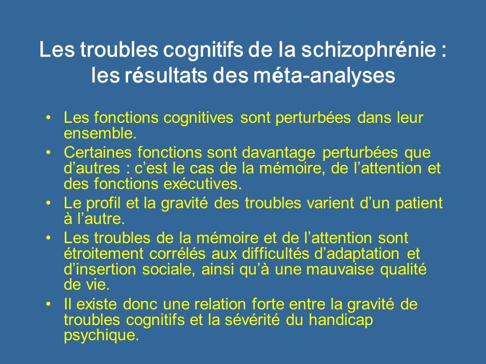 Les troubles cognitifs de la schizophr é nie : les r é sultats des m é ta-analyses Les fonctions cognitives sont perturbées dans leur ensemble. Certai