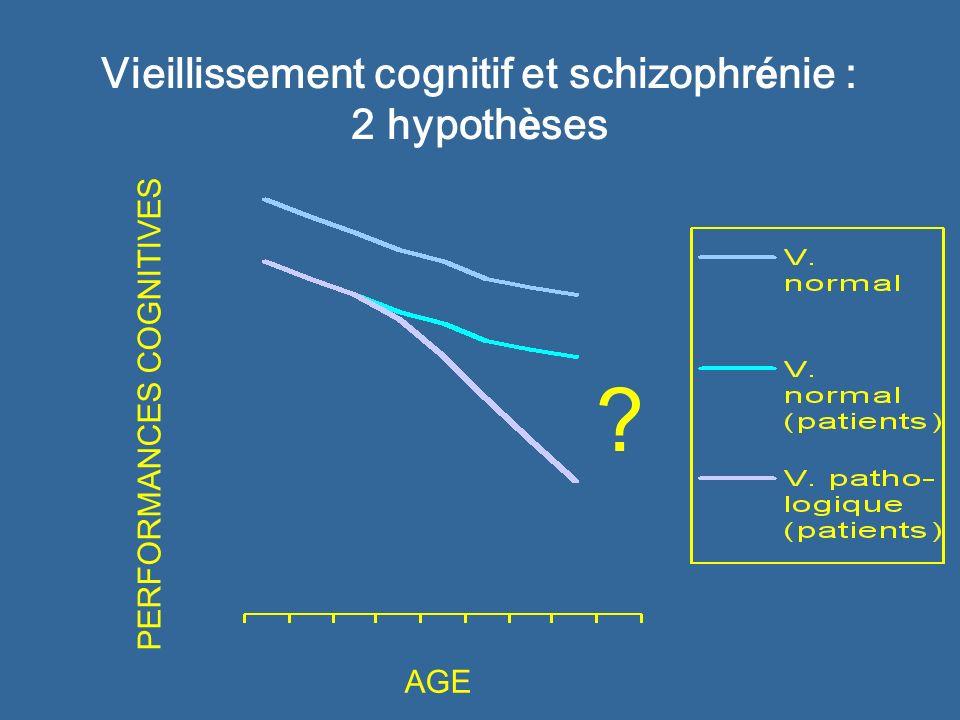 Vieillissement cognitif et schizophr é nie : 2 hypoth è ses AGE PERFORMANCES COGNITIVES ?