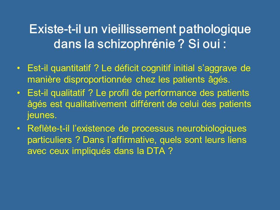 Existe-t-il un vieillissement pathologique dans la schizophr é nie ? Si oui : Est-il quantitatif ? Le déficit cognitif initial saggrave de manière dis