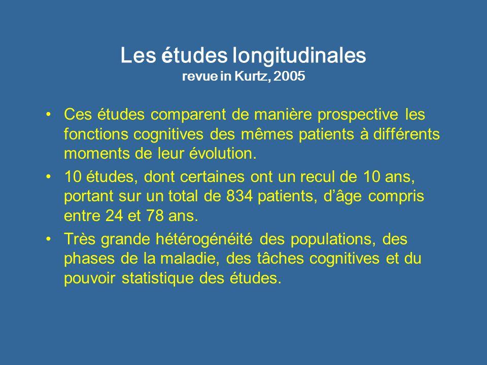 Les é tudes longitudinales revue in Kurtz, 2005 Ces études comparent de manière prospective les fonctions cognitives des mêmes patients à différents m