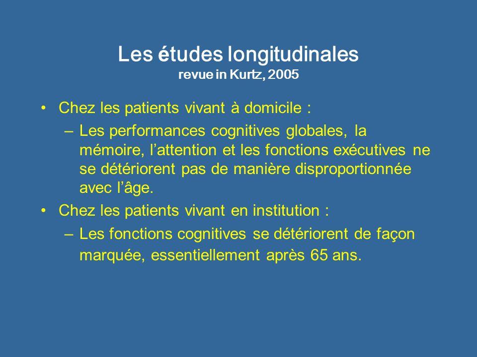 Les é tudes longitudinales revue in Kurtz, 2005 Chez les patients vivant à domicile : –Les performances cognitives globales, la mémoire, lattention et