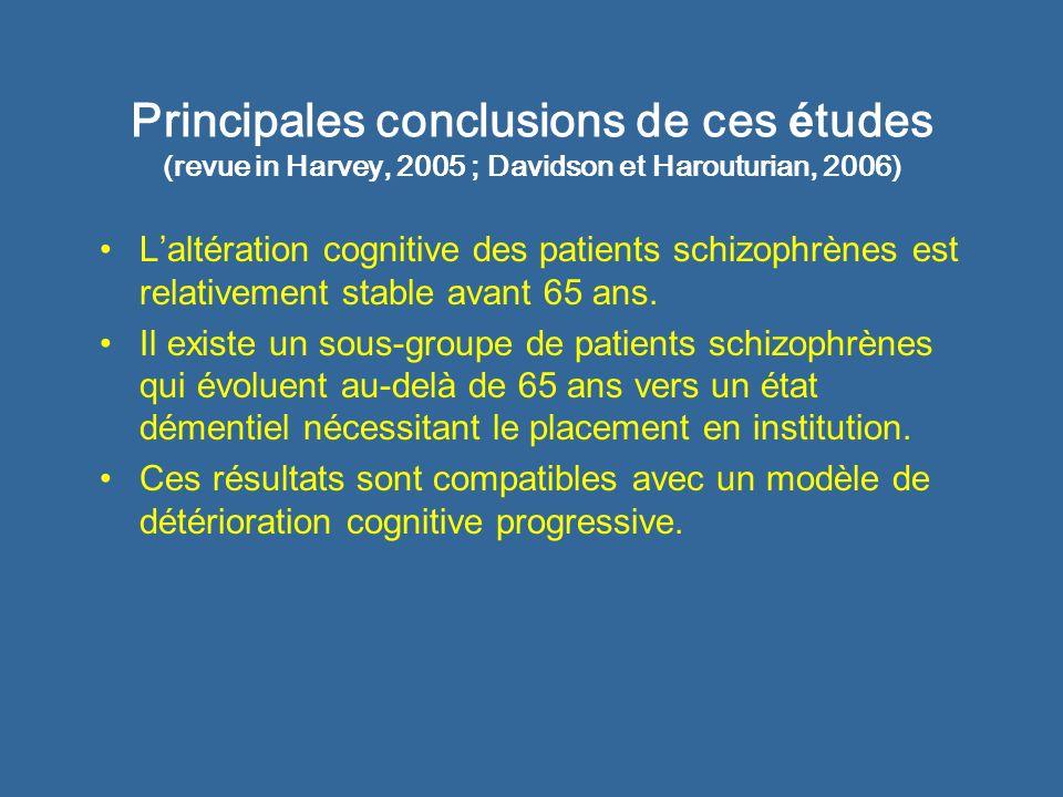 Schizophr é nie et DTA : donn é es neuropsychologiques Comparaison de 2 groupes de patients schizophrènes et Alzheimer appariés quant au niveau global de détérioration cognitive au MMSE (Davidson et coll, 1996) : Les 2 groupes sont comparables dans une tâche dapprentissage verbal.