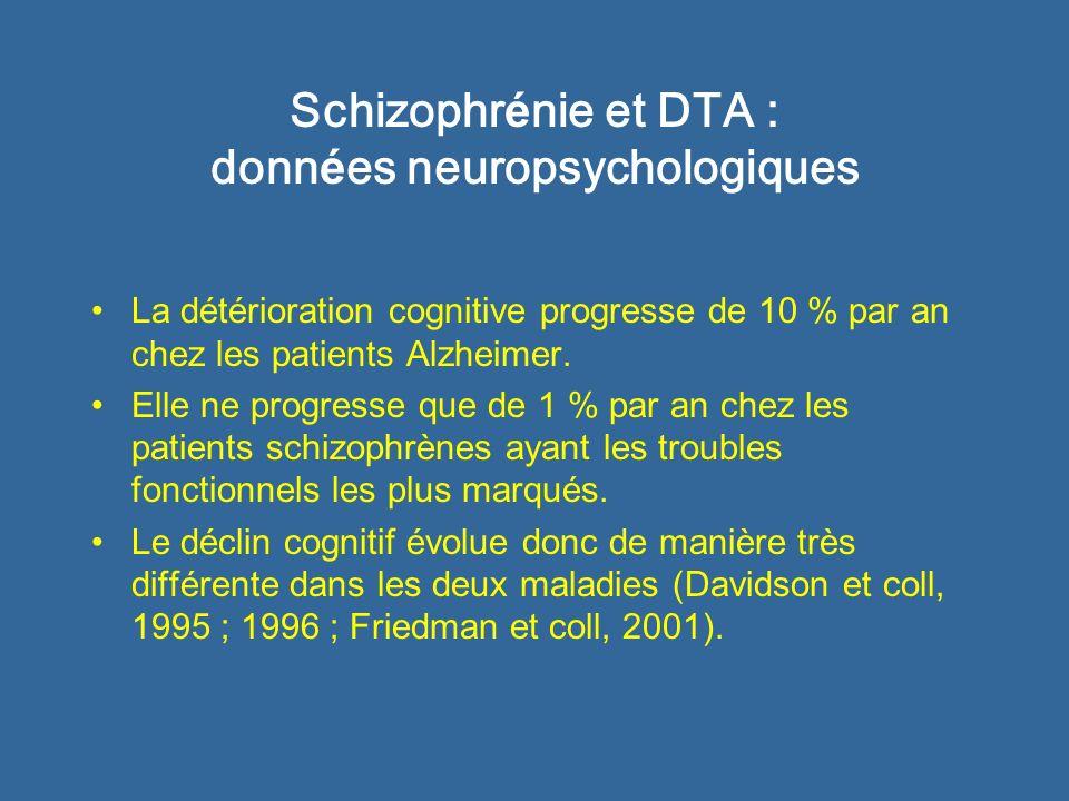 Schizophr é nie et DTA : donn é es neuropathologiques Analyse neuropathologique du cerveau de 100 patients schizophrènes réunissant les critères diagnostiques de démence (Purohit et coll, 1998) : –10 % ont des lésions de la maladie dAlzheimer –10 % ont des lésions vasculaires –10 % ont des anomalies neuropathologiques non classables –70 % nont pas danomalies neuropathologiques susceptibles de rendre compte dun état démentiel