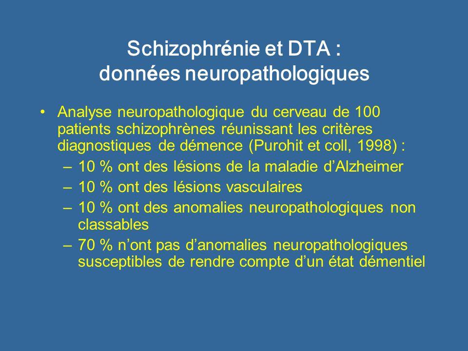 Schizophr é nie et DTA : principale conclusion Le profil de perturbations cognitives, la vitesse de déclin cognitif et les données neuropathologiques montrent que létat démentiel des patients schizophrènes nest pas de type Alzheimer.