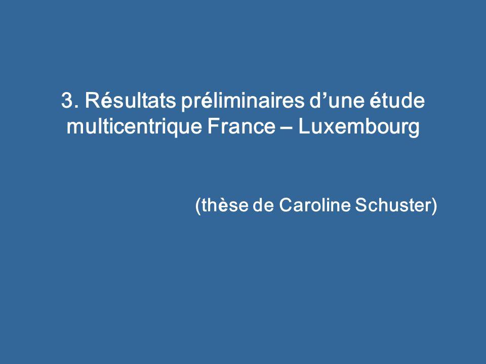 3. R é sultats pr é liminaires d une é tude multicentrique France – Luxembourg (th è se de Caroline Schuster)