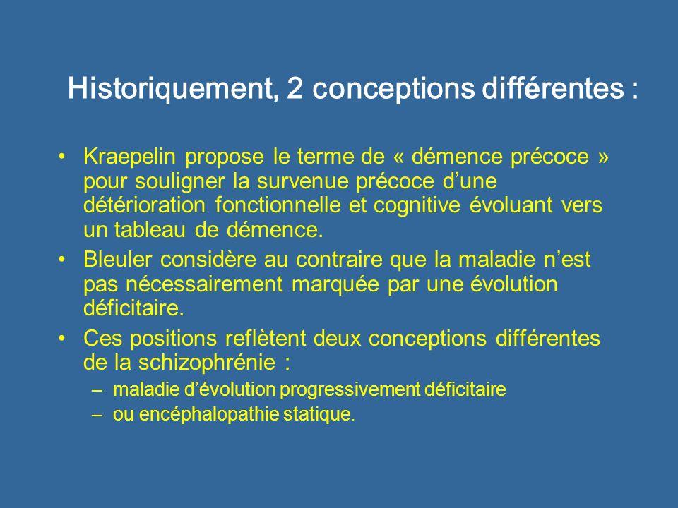 Historiquement, 2 conceptions diff é rentes : Kraepelin propose le terme de « démence précoce » pour souligner la survenue précoce dune détérioration