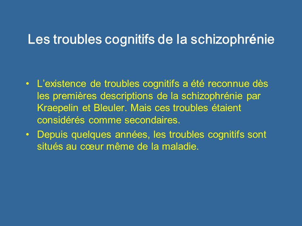 Les troubles cognitifs de la schizophr é nie Lexistence de troubles cognitifs a été reconnue dès les premières descriptions de la schizophrénie par Kr
