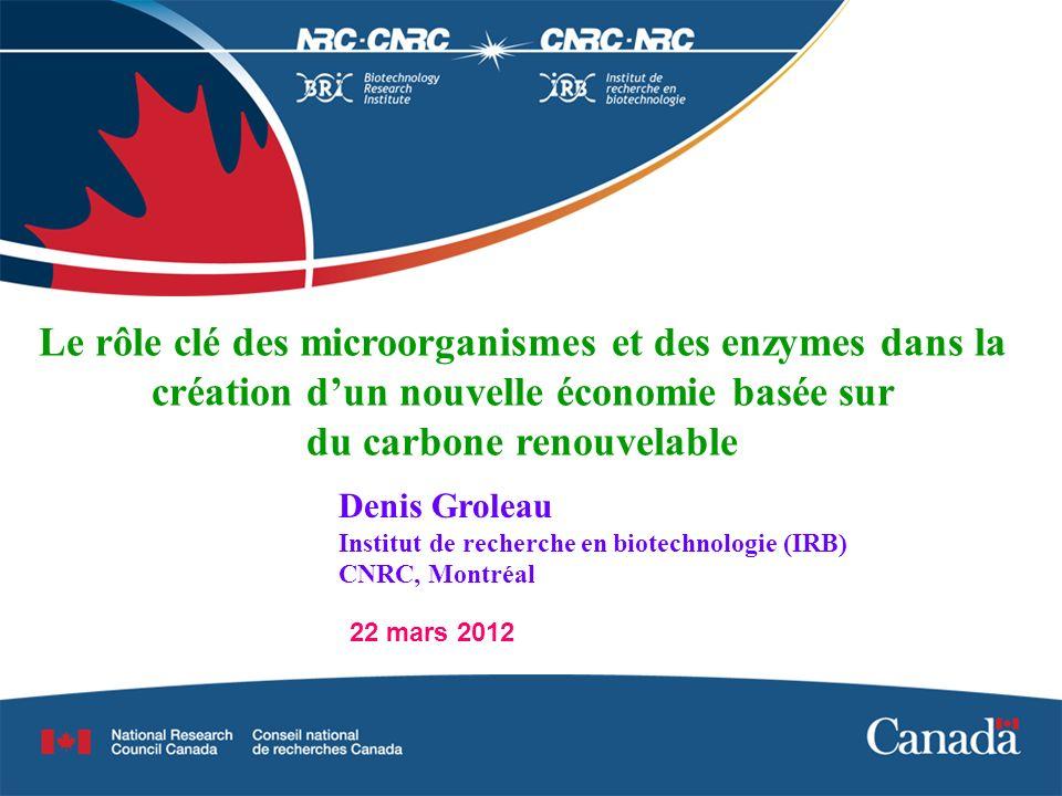 22 mars 2012 Le rôle clé des microorganismes et des enzymes dans la création dun nouvelle économie basée sur du carbone renouvelable Denis Groleau Institut de recherche en biotechnologie (IRB) CNRC, Montréal