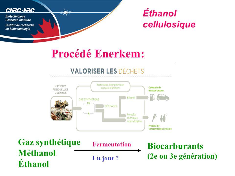 Éthanol cellulosique Procédé Enerkem: Gaz synthétique Méthanol Éthanol Fermentation Biocarburants (2e ou 3e génération) Un jour ?