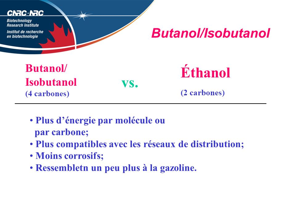 Butanol/Isobutanol Butanol/ Isobutanol (4 carbones) vs.