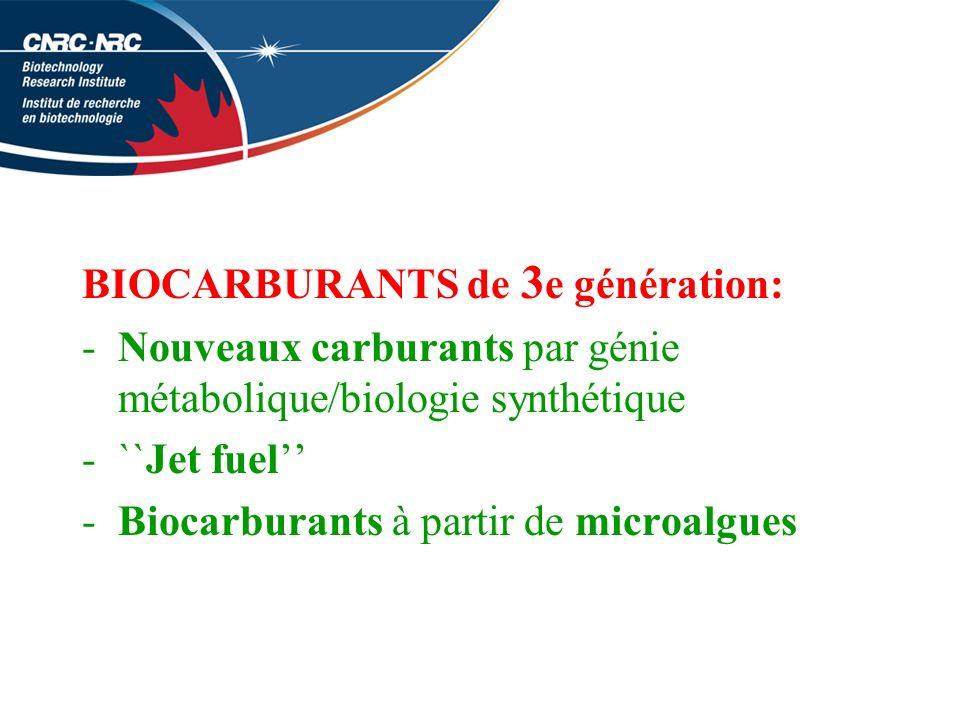 BIOCARBURANTS de 3 e génération: -Nouveaux carburants par génie métabolique/biologie synthétique -``Jet fuel -Biocarburants à partir de microalgues
