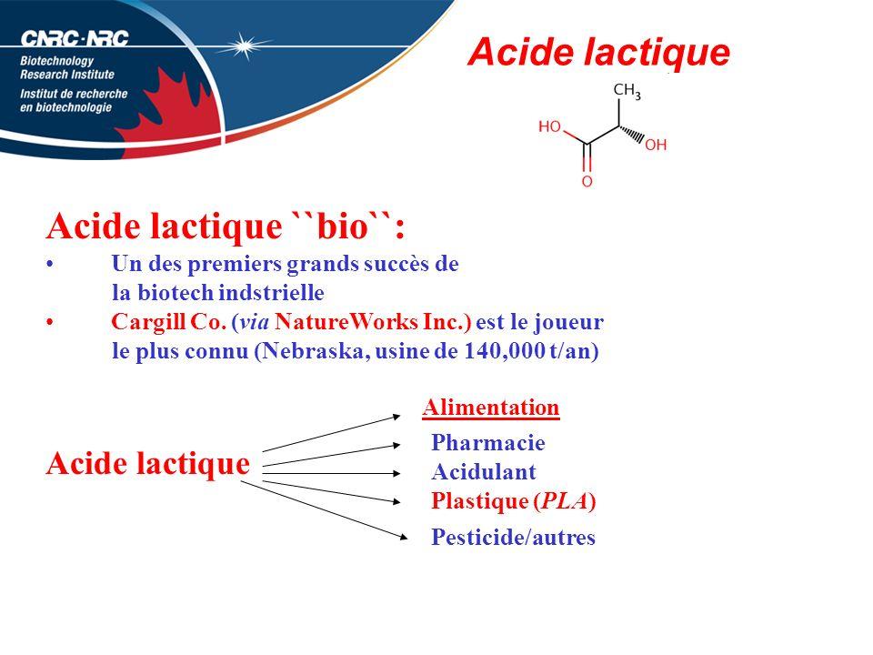 Acide lactique Acide lactique ``bio``: Un des premiers grands succès de la biotech indstrielle Cargill Co.