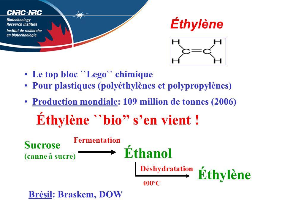 Éthylène Le top bloc ``Lego`` chimique Pour plastiques (polyéthylènes et polypropylènes) Production mondiale: 109 million de tonnes (2006) Éthylène ``bio sen vient .