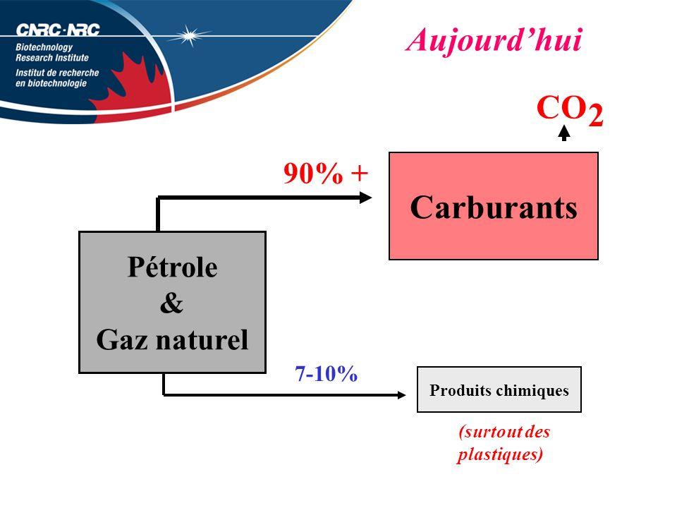 Pétrole & Gaz naturel Carburants Produits chimiques 7-10% 90% + CO 2 (surtout des plastiques) Aujourdhui