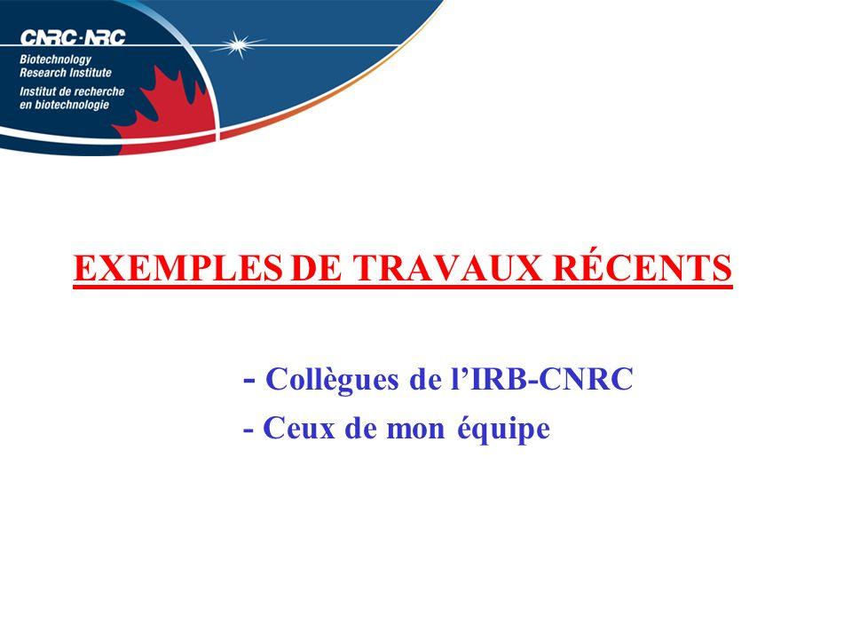 EXEMPLES DE TRAVAUX RÉCENTS - Collègues de lIRB-CNRC - Ceux de mon équipe