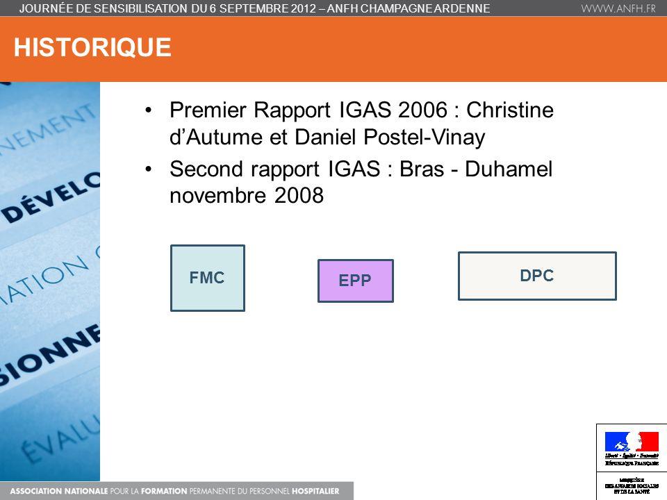 HISTORIQUE JOURNÉE DE SENSIBILISATION DU 6 SEPTEMBRE 2012 – ANFH CHAMPAGNE ARDENNE Premier Rapport IGAS 2006 : Christine dAutume et Daniel Postel-Vina