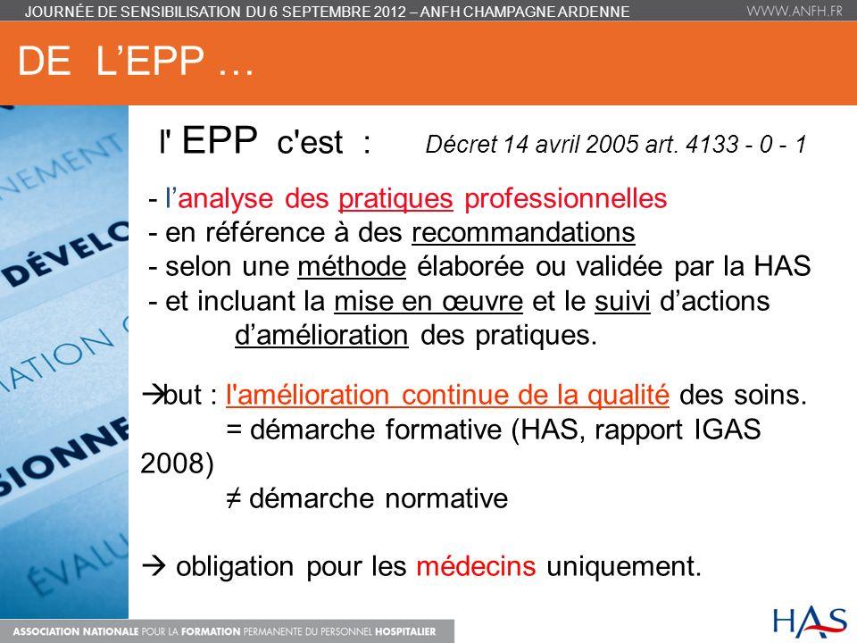 DE LEPP … l' EPP c'est : Décret 14 avril 2005 art. 4133 - 0 - 1 - lanalyse des pratiques professionnelles - en référence à des recommandations - selon