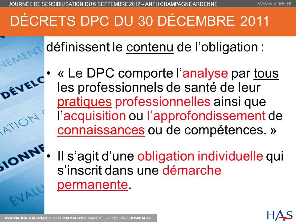 DÉCRETS DPC DU 30 DÉCEMBRE 2011 définissent le contenu de lobligation : « Le DPC comporte lanalyse par tous les professionnels de santé de leur pratiq