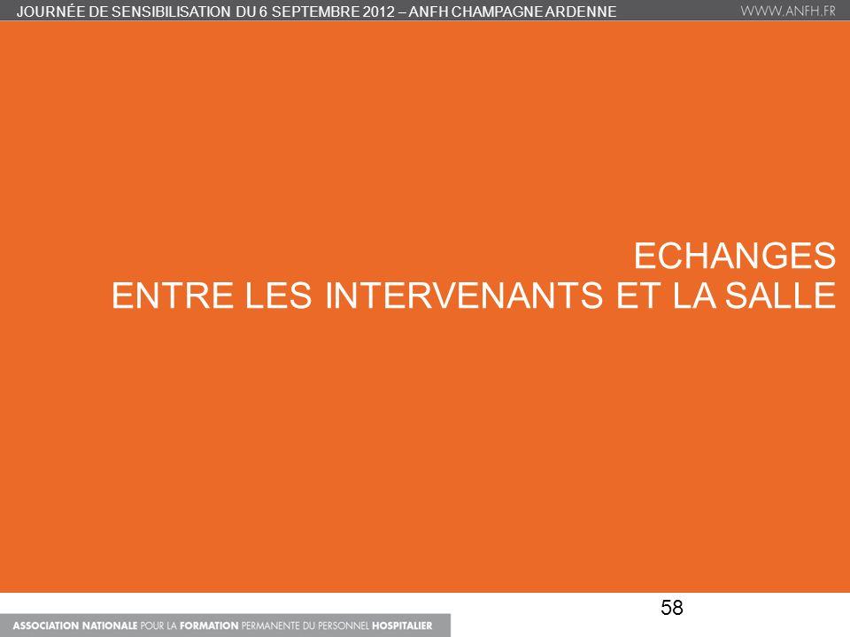 ECHANGES ENTRE LES INTERVENANTS ET LA SALLE JOURNÉE DE SENSIBILISATION DU 6 SEPTEMBRE 2012 – ANFH CHAMPAGNE ARDENNE 58