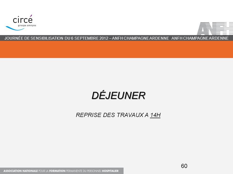 DÉJEUNER DÉJEUNER REPRISE DES TRAVAUX A 14H ANFH CHAMPAGNE ARDENNEJOURNÉE DE SENSIBILISATION DU 6 SEPTEMBRE 2012 – ANFH CHAMPAGNE ARDENNE 60