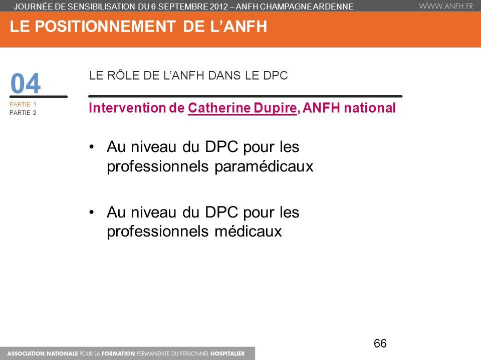 LE POSITIONNEMENT DE LANFH 04 LE RÔLE DE LANFH DANS LE DPC Intervention de Catherine Dupire, ANFH national Au niveau du DPC pour les professionnels pa