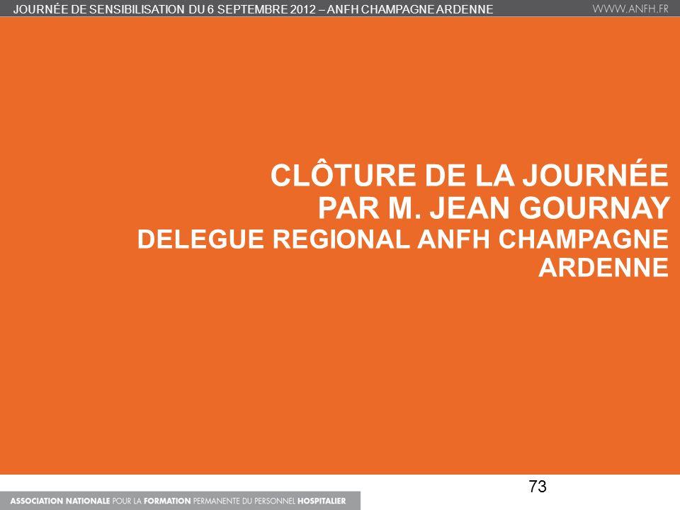 CLÔTURE DE LA JOURNÉE PAR M. JEAN GOURNAY DELEGUE REGIONAL ANFH CHAMPAGNE ARDENNE JOURNÉE DE SENSIBILISATION DU 6 SEPTEMBRE 2012 – ANFH CHAMPAGNE ARDE