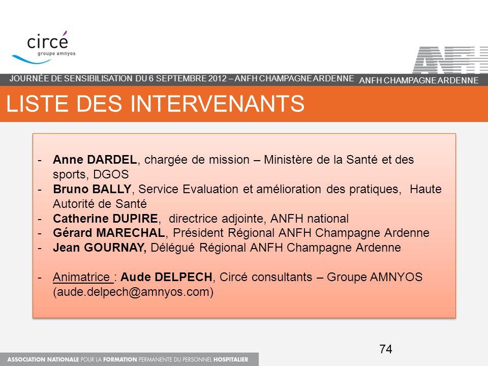 LISTE DES INTERVENANTS JOURNÉE DE SENSIBILISATION DU 6 SEPTEMBRE 2012 – ANFH CHAMPAGNE ARDENNE -Anne DARDEL, chargée de mission – Ministère de la Sant