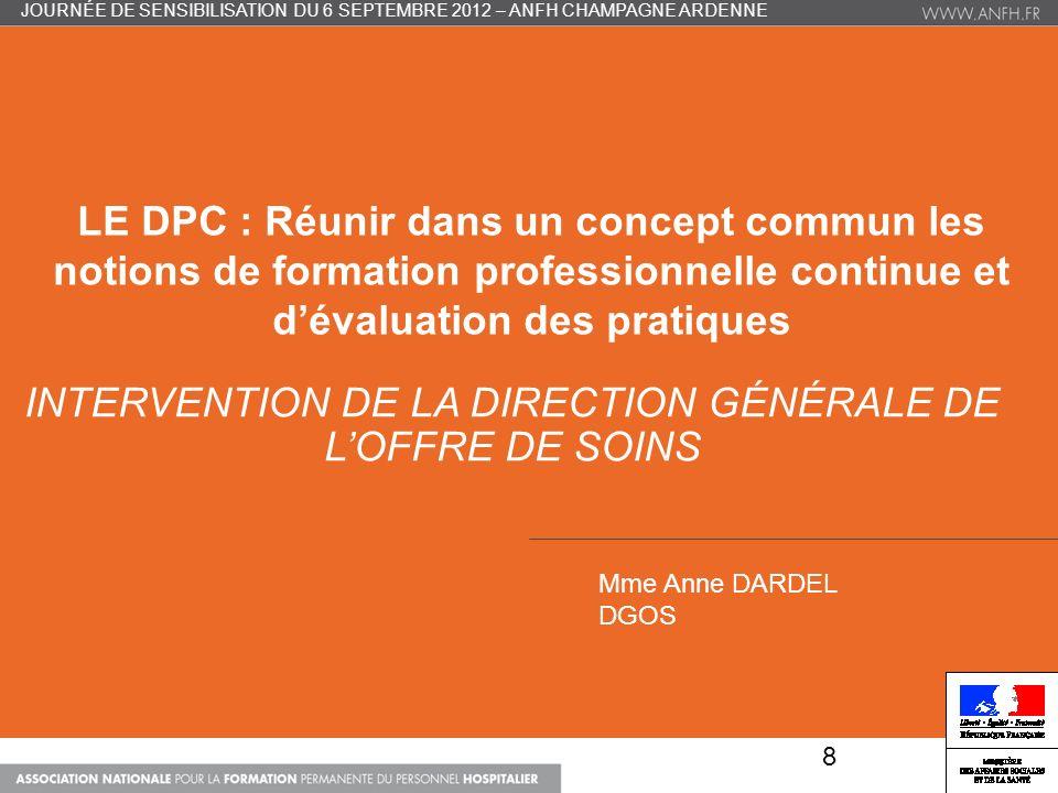 UNE (SI) LONGUE HISTOIRE… FMC et EPP = un devoir déontologique (art.11) Ordonnance du 24 avril 1996 : obligation FMC Loi du 13 aout 2004 : obligation EPP (+ décret 14/04/2005 ) Loi du 21/07/2009 (HPST), art.59 : obligation du DPC Décrets DPC du 30/12/2011 et 9/01/2012 JOURNÉE DE SENSIBILISATION DU 6 SEPTEMBRE 2012 – ANFH CHAMPAGNE ARDENNE