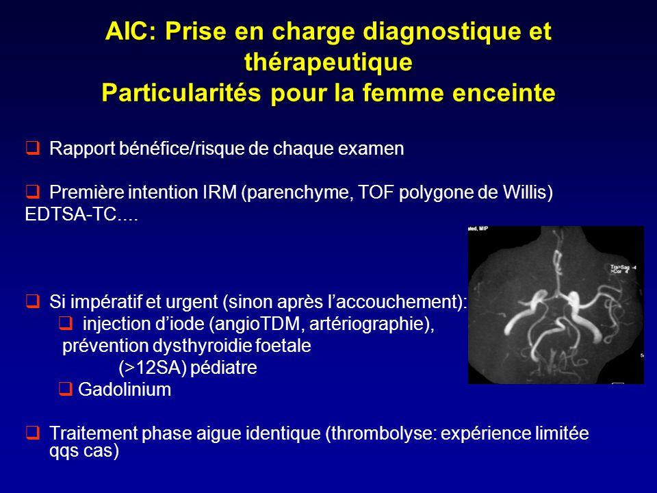 AIC: Prise en charge diagnostique et thérapeutique Particularités pour la femme enceinte Rapport bénéfice/risque de chaque examen Première intention I