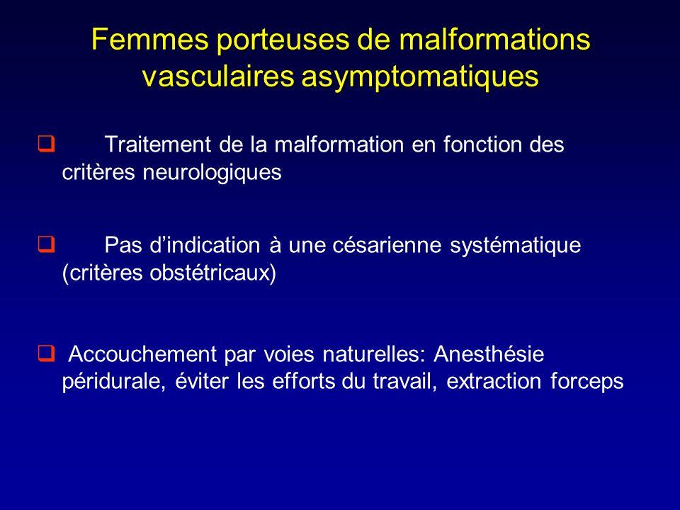 Femmes porteuses de malformations vasculaires asymptomatiques Traitement de la malformation en fonction des critères neurologiques Pas dindication à u