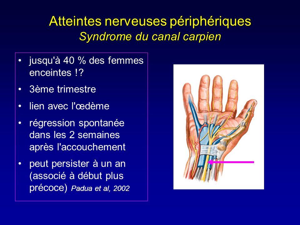 Atteintes nerveuses périphériques Syndrome du canal carpien jusqu'à 40 % des femmes enceintes !? 3ème trimestre lien avec l'œdème régression spontanée