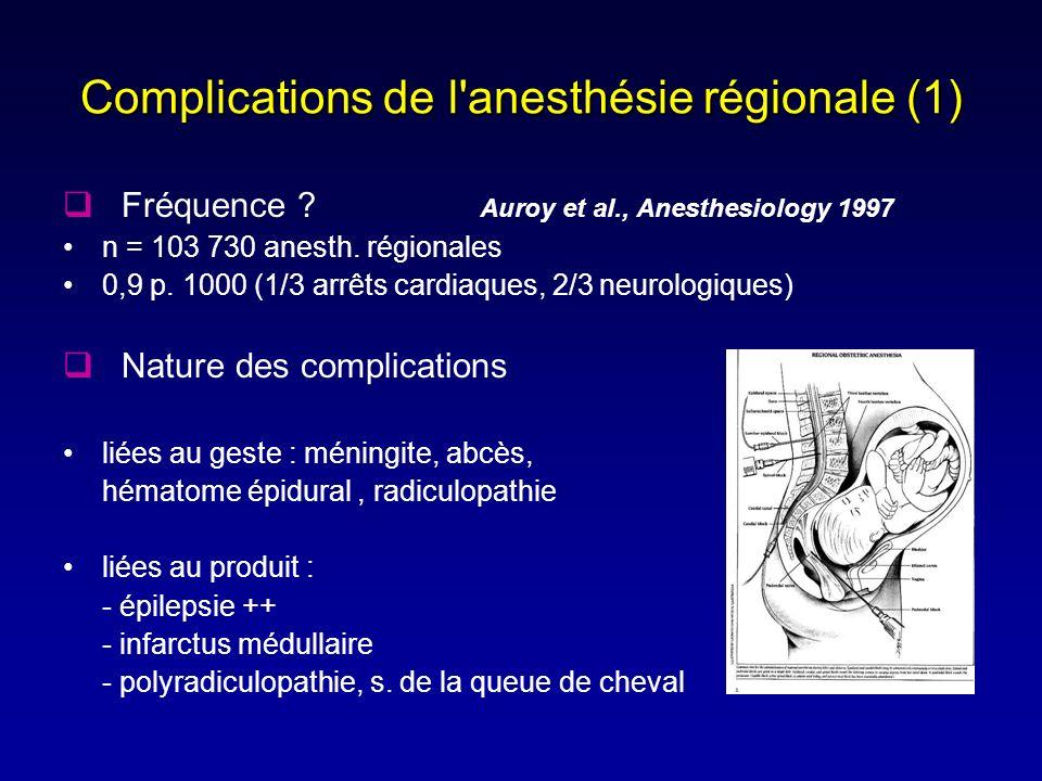 Complications de l'anesthésie régionale (1) Fréquence ? Auroy et al., Anesthesiology 1997 n = 103 730 anesth. régionales 0,9 p. 1000 (1/3 arrêts cardi