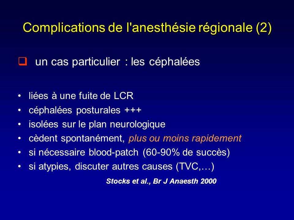 Complications de l'anesthésie régionale (2) un cas particulier : les céphalées liées à une fuite de LCR céphalées posturales +++ isolées sur le plan n