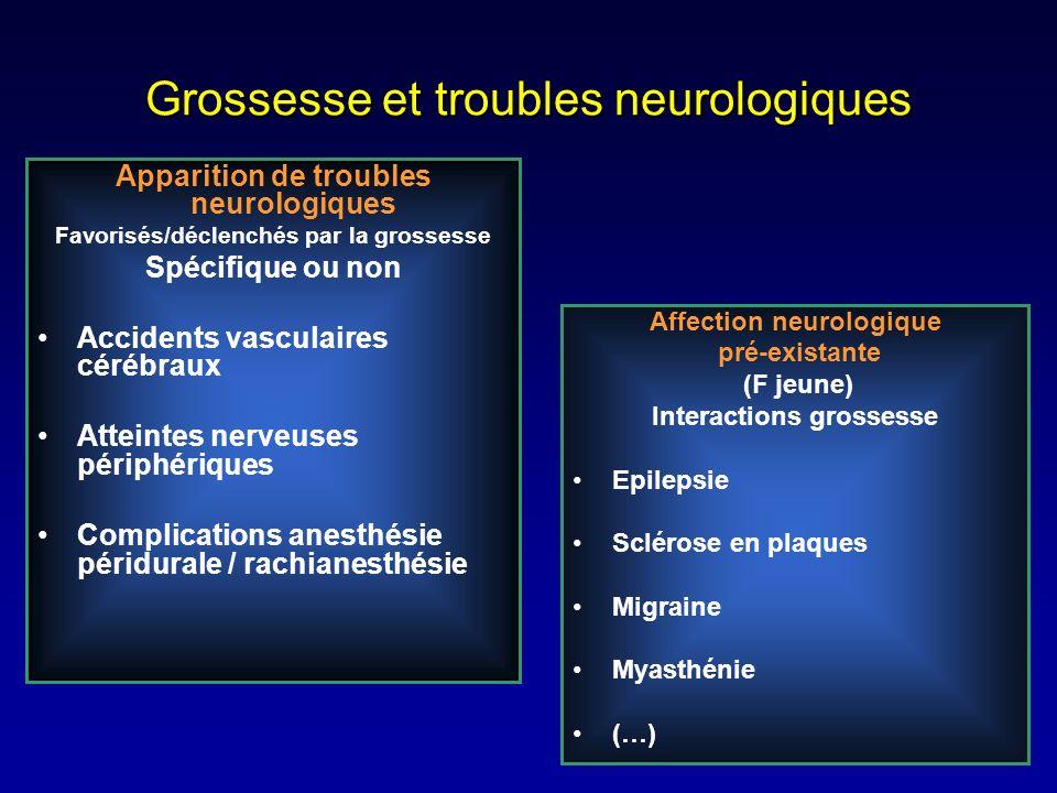 Grossesse et troubles neurologiques Apparition de troubles neurologiques Favorisés/déclenchés par la grossesse Spécifique ou non Accidents vasculaires