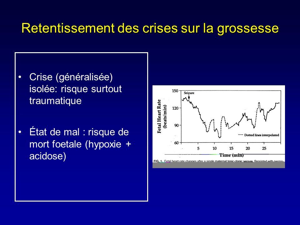 Retentissement des crises sur la grossesse Crise (généralisée) isolée: risque surtout traumatique État de mal : risque de mort foetale (hypoxie + acid