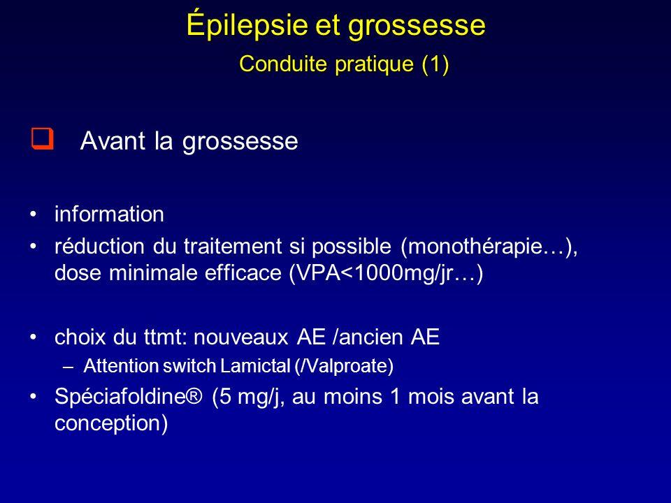 Épilepsie et grossesse Conduite pratique (1) Avant la grossesse information réduction du traitement si possible (monothérapie…), dose minimale efficac