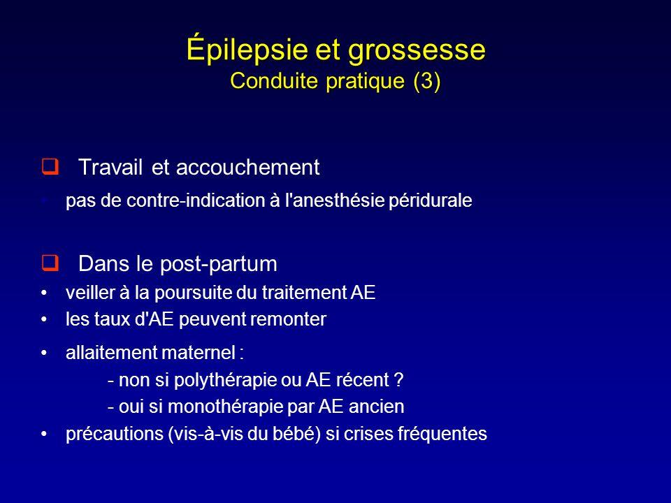 Épilepsie et grossesse Conduite pratique (3) Travail et accouchement pas de contre-indication à l'anesthésie péridurale Dans le post-partum veiller à
