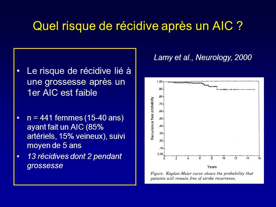 Quel risque de récidive après un AIC ? Le risque de récidive lié à une grossesse après un 1er AIC est faible n = 441 femmes (15-40 ans) ayant fait un