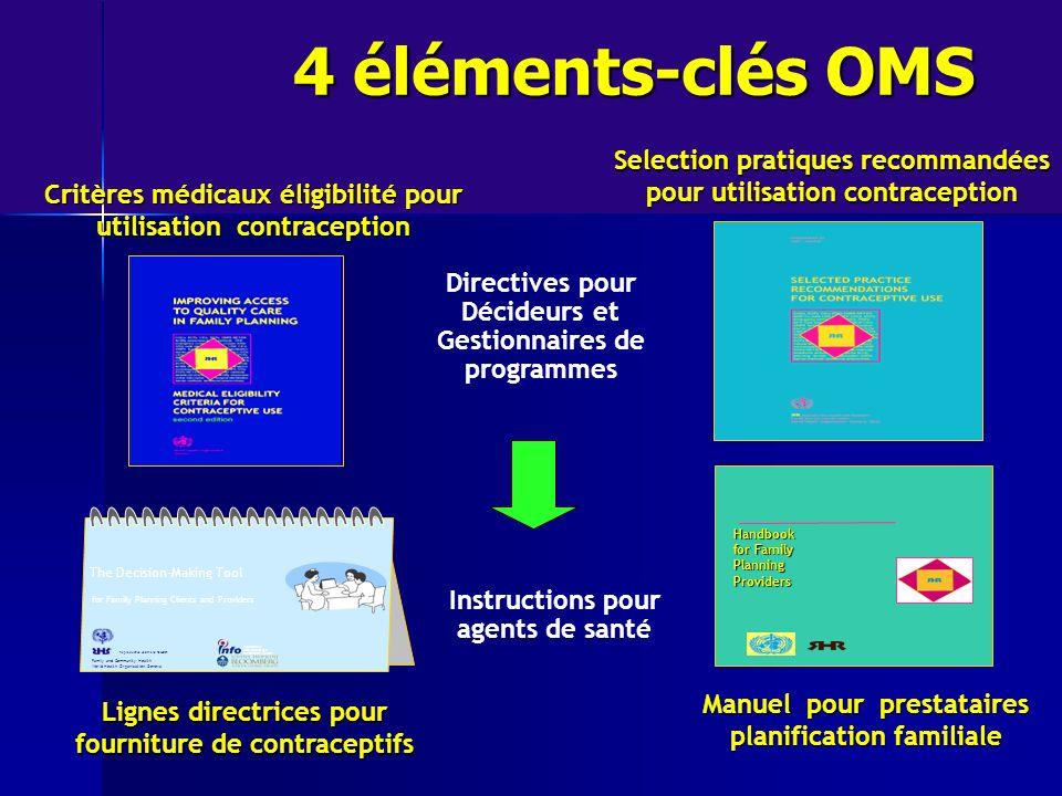 Critères médicaux éligibilité pour utilisation contraception Selection pratiques recommandées pour utilisation contraception Manuel pour prestataires
