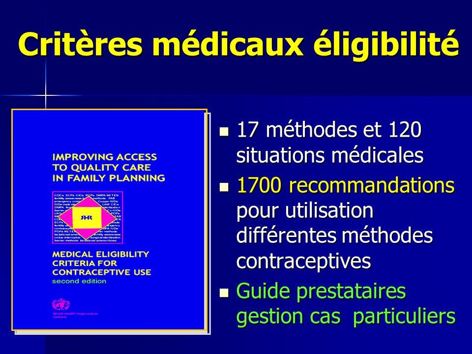 Critères médicaux éligibilité 17 méthodes et 120 situations médicales 17 méthodes et 120 situations médicales 1700 recommandations pour utilisation di